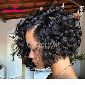 """full lace human hair wigs for black women Natural Black Color lace front wigs brazilian hair 10""""-24"""" Wavy Curly Mink Hair Greatrem"""