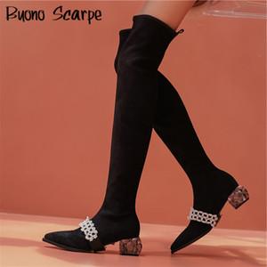 Nueva Plaza Crystal talón del calcetín de las mujeres botas de cuero de gamuza natural Delgado botines de perlas zapatos elegantes zapatos Negro Stretch calcetín