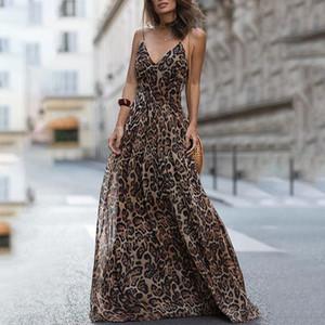 Vestido sexy de moda Leopardo V-cuello con cuello en V Vestidos Maxi Vestidos Mujeres Verano Sin mangas Playa de gasa Larga Robe Tops