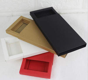 Small to Big Kraft Paper Drawer Cardboard Box For Phone Case Jewelry Packaging Box Red White Black Kraft Paper Slid Style Box