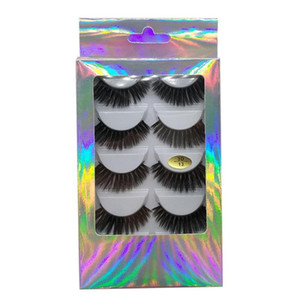 5 Pairs Luxurious 3D Faux Mink Hair False Eyelashes Fluffy Flared Wispy Feathering Lashes Thick Eyelash Makeup Extension Tool