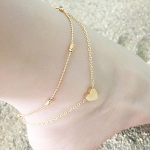 cgjxs Europe And The United Summer Beach New Round Bead Chain Love Heart Heart -Shaped Anklet