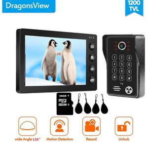 Dragonsview 7 pouces vidéophone Sonnette Interphone avec RFID Mot de passe 1200TVL détection de mouvement enregistrement de vision nocturne