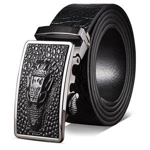 2019 New Mens Leather Crocodile Leather Belt Full-Grain Leather Comfort Click Belt Business Factory Wholesale