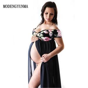 V- Boyun Elbise Maternty Fotoğrafçılık Dikmeler Kısa Kollu Stretch Pamuk Hamile Çekim MODENGYUNMA hamile elbisesi Foto