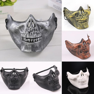 Mask Carnival Gift Scary Skull Skeleton Paintball Lower Half Face face mask warriors Protective Mask For Halloween Party Masks