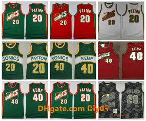 Mitchell Ness 1995-1996 20 Gary Payton SeattleSuperSonicsThrowback Jersey Shawn Kemp Retro AhşapKlasikler Basketbol Formalar