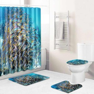 Marine Printed Bathroom Set Non-slip Absorbent Cushion Shower Curtain Carpet Toilet Seat Bathroom Accessories 4 3 1 Piece