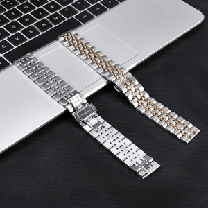 Seven Bead Metal Stainless Steel Watchbands 20mm 22mm Butterfly Clasp Strap for Samsung S2 Gear Sport Wrist Strap Bracelet With Pins