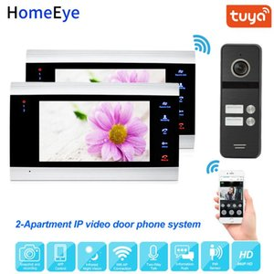 Tuya Smart App Remote Control IP Video Door Phone WiFi Video Intercom 2-Apartments Security Access Control System Touch Button