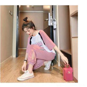 euhkd mIpuH Mode-Stil junge Sport-Freizeit-Klagefrauen der westlichen Jugend Western Leisure koreanischen und losen Art Fee Sommer neue Sport zwei-