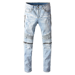 azzurro bandana paisley stampato i jeans biker patchwork uomo cerniere Streetwear allungano pantaloni skinny in denim