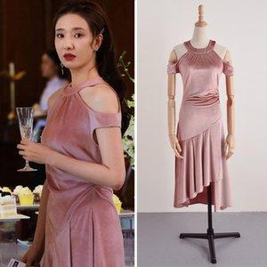 spalla kP4mC detto che non possono sposarsi wo stesso stile Fang Iridium Ding Shiya appendere gli abiti gonna neckLong vestiti che si vestono di media lunghezza Xu