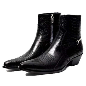 New list fashion real genunie leather ankle boots factory outlet persional high top design personality men's shoes