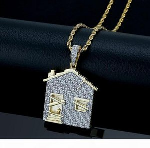 K Iced Out Cz Bling House Shape Pendant Necklace Mens Micro Pave Cubic Zirconia Simulated Diamonds Giftts Necklace