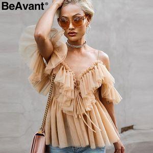 إمرأة BeAvant معطلة الكتف قمم والبلوزات الصيف عارية الذراعين مثير peplum أعلى الإناث كشكش خمر شبكة بلوزة قميص blusas 200923