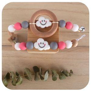 2020 Soft Fda DIY Children's Creative Sensory Toy Cartoon Cloud Baby Silicone Molar Stick Teether Nipple Clips Holder Chain Anti-drop Chain