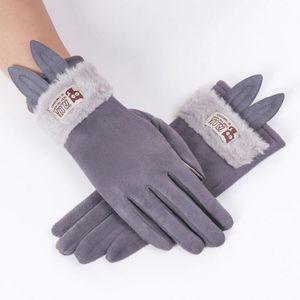 Home&Nest New Arrival Womens Gloves Cartoon Ear Winter Fleece Thermal Gloves Thicken Warm Mittens Femme Mode Hiver