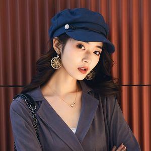 XPaPI Beret Pointed cap boina octagonal verão fina coreano estilo all-jogo marinha chapéu octagonal internet britânico chapéu vermelho artística quepe w