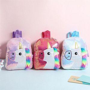 Color de rosa brillante con lentejuelas morral de la felpa del unicornio Diseño taleguilla Bookbag adorable linda de la manera niños del viaje del bolso de escuela para el estudiante kfRL Niño #