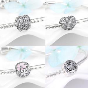 Serrure Clip Beads 925 CZ de perles en argent sterling Bracelet d'argent Taille initiale européen Bangles femmes de haute qualité Bijoux