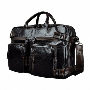 Genuine Leather Man Design Multifunction Purpose Maletas Maletin Business Briefcase 15 Laptop Bag Tote Portfolio Bag K1013 Metal Brief 7ZNc#