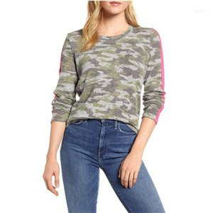 Tshirt Designer manica lunga Womens primavera autunno abbigliamento casual T Slim Donne Leopard e strisce Patchwork