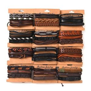 Mode (3 teile / satz) retro handgemachte herren armreif armband männlich frauen geflochtene leder armband großhandel schmuck geschenke