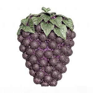 Fashion luxury designer full rhinestone diamonds plants fruits green purple grape shape clutch evening bags handbags for woman ladies