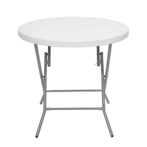 WACO Folding Table, Outdoor 32inch Round Small Size Light Weight Wood-Plastic , Garden Guards Picnic Folding Utility Table White