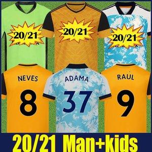 2020 Wolves enfants jersey de football kit Accueil jaune J.MOUTINHO RAUL NEVES Podence chemises de football Dendoncker ADAMA Wolves football uniformes 20/21