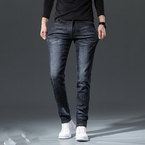 Осень Стиль Мода мужские джинсы высокого качества синий цвет Тощий Fit срощенной рваные джинсы High Street Разрушенный Мото Байкер Мужские джинсы 28-38
