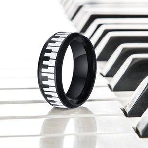 UNIQUE RING KEYBOARD FOR MEN الفولاذ المقاوم للصدأ MUSIC PIANO FLAT لمحة عن اثنين من لهجة RING