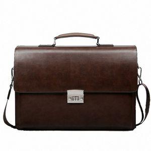 Business Man Bag Theftproof Lock PU Leather Briefcase For Man Pure Bank Mens Briefcase Bag Dress Handbag HZFJ#