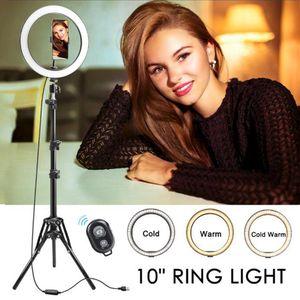 Cgjxs Anneau LED lampe 10 Dimmable selfie Annulaire Avec Trépied et Support de téléphone pour Smartphone caméra Stream Live Make Up Youtube