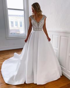 2020 Plus Size Arabic Aso Ebi Lace Crystals Backless Wedding Dresses Deep V-neck Bridal Dresses Satin Wedding Gowns ZJ953