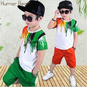 Humor Bear Boys Clothing Set Baby Boy Clothes New Summer Kids Clothing Sets Stripe Colorful T-Shirt + Pants 2Pcs Boys Suit