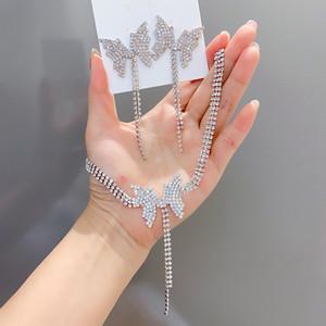 Hot! Bling Bling Exagerado strass colar borboleta brincos conjunto de jóias Moda Cool Sex presentes INS Estilo Para Mulheres Accessiores