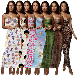 Slim Skinny Spaghetti Strap Wrapped Chest Summer Lond Dress Floral Leopard Summer Womens Designer Bodycon Dresses
