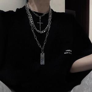 HUANZHI Punk Multilayer Vintage Cross Short Ruler Pendant Metal Long Chain Hip Hop Necklaces for Women Men Party