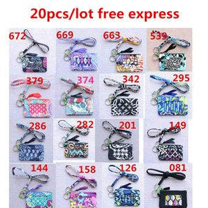 20pcs lot Zip ID Case and lanyards small wallet Card holders Coin purses Free Express