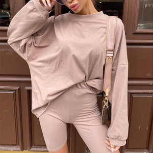 Womens Casual Two Pieces Sets With Sashes Spring Loose Long Sleeve t shirt And Shorts Ladies Sports Suit Summer Fashion Outfit