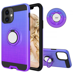 Shockproof Matte Gradient Case for iPhone 11 Pro Max XS XR 7 8 Plus with Magnetic Car Holder 360 Rotating Ring Back Cover