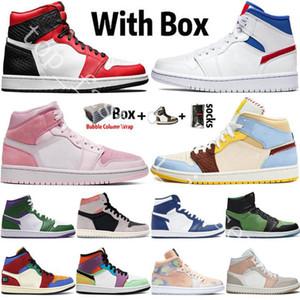 2020 Новое прибытие Jumpman 1 1s Mens Basketball Shoes High OG Dio UNC Tie-Dye Digital Pink Snake Чикаго Женщины Спортивные кроссовки мужские Кроссовки