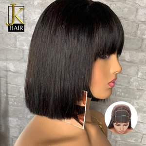 150% Remy Brazilian Straight Bob Fringe Wig With Bangs 4x4 Closure Lace Front Human Hair Wigs For Black Women Pre Plucked JK