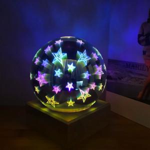 Magic Ball lâmpada de bola de vidro colorido 3d Starry Sky Estrela borboleta da noite crianças luz do quarto Decoração dos presentes de Natal por GGA3711 mar
