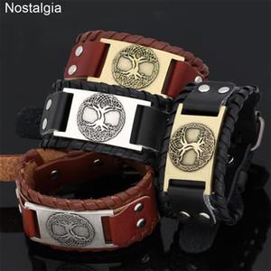 Nostalgia Norse Viking Jewelry World Tree Of Life Leather Cuffs Wicca Bracelet Vikings Accessories Odin Amulets Talismans