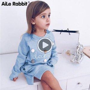 Aile Coniglio Autunno Inverno Cartoon Lettera Ricamo Felpa Girl Fashion lungo Hoodie Dress Pullover Moletom Feminina