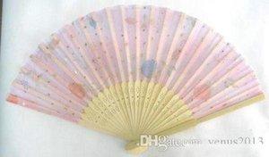 Großhändler chinesische Seide-faltende Bambushandventilator Fans Kunst-handgemachtes Blumen