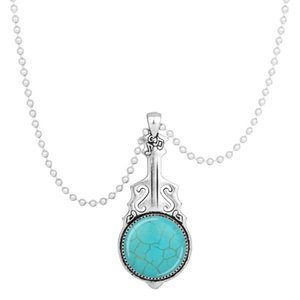 10 Pcs Silver Plated Love Heart and Guitar Green Turquoise Stone Pendant Handmade Link Chain Necklace Charm Jewelry
